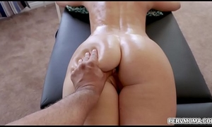 Seductive stepmom India Summer desires to relax and gets a special charge from massage with her horny stepson.