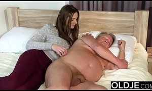 Young Girl Vs Aged Man - Gaunt Teen inviting facial foreign fruitful in the trestle grandpa