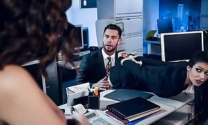 Pair of stunning brunettes fuck one lucky apropos the office