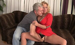 Curvy mart mature with natural boobs gets rewarded with a good fuck